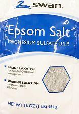 Swan Epson Salt, Saline Laxative, Soaking Solution 16OZ x 12 packets