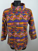 C&A vtg Aztec Turtle Neck Fleece Jumper Ladies UK 12-14 Medium EUR 38/40 Navajo