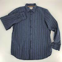 Calvin Klein Mens Shirt Size M Garment Wash Button Down Long Sleeve Blue Stripe