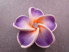 Hawaii Plumeria Flower Polymer Clay w/ Rhinestone 40mm Orange/Purple Pendant 1pc