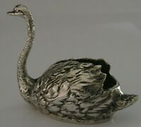 UNUSUAL 800 SOLID SILVER SWAN ANIMAL FIGURE PIN CUSHION 1944-1968 38g 2.5 inch