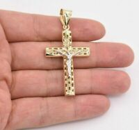 "2.5"" Jesus Christ Crucifix Cross Filigree Pendant Real 10K Yellow White Gold"