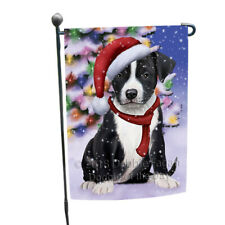 American Staffordshire Terrier Dog In Christmas Garden Flag Gflg53787