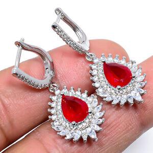 """Ruby & White Topaz 925 Sterling Silver Jewelry Earring 1.48"""" W2431"""