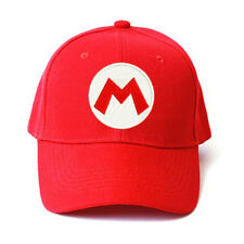 SUPER MARIO LUIGI BROS RED LOGO EMBROIDERED BASEBALL CAP HALLOWEEN COSTUME