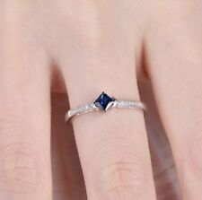 0.5ct Princess Cut Blue Sapphire Stacking Engagement Ring 14k White Gold Finish