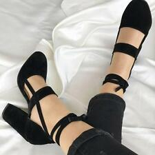 Women Summer Party Suede Strappy Thick High Heels Shoes Sandals Classic USHF