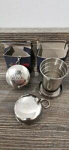 2x The Famous Grouse Collapsible Stainless Cups, Cover Plus Belt Clip Keyring