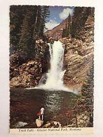 Vtg Postcard Trick Falls Glacier National Park Montana