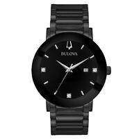 Bulova Men's Watch Futuro Diamond Black Dial Stainless Steel Bracelet 98D144