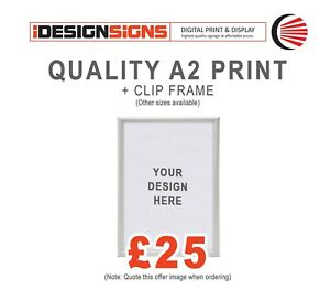 A2 Print + Clip Frame + YOUR ARTWORK - Outdoor & Indoor / Advertise / Community