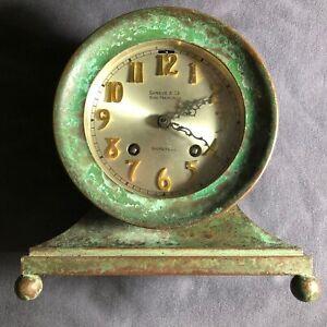 CHELSEA  SHREVE'S ANTIQUE SHIPS BELL CLOCK C 1900 RARE GREEN #23903 NO RESERVE