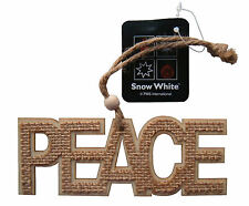 Christmas Decorations, New Wooden Peace Hanging Ornament, Hessian 14cm across