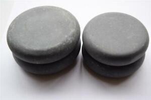 4 Round Basalt Hot Stone Massage Stones - 2 of 7.5cm Ø x 1.5cm  &  2 of 6.75cm Ø