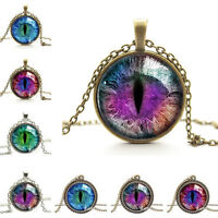 Quality Dragon Cat Eye Glass Cabochon Pendant on Bronze Necklace Chain  Z
