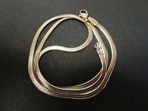 """JUST ARRIVED 18k Rose Gold on Sterling Silver SLIM FLAT HERRINGBONE Necklace 18"""""""