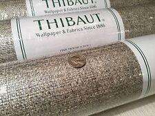 """8yd THIBAUT """"Pearl Bay"""" Metallic RAFFIA Grasscloth Wallpaper T41112 $550 Retail"""