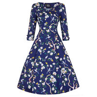 Hearts & Roses London Blue Floral Butterfly Vintage Retro 1950s Flared Tea Dress
