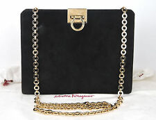 AUTHENTIC SALVATORE FERRAGAMO GANCINI BLACK SUEDE LEATHER GOLD CHAIN SOULDER BAG