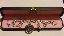 JUICY COUTURE Silver Music Note, Microphone, Puffed Heart Charms BRACELET*****