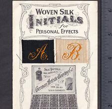 RARE Silk Sample Monogram Initials New York German Artistic Weaving Trade Card