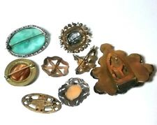 VINTAGE ANTIQUE VICTORIAN GLASS STERLING CAMEO JEWELRY CLIP BROOCH PIN LOT