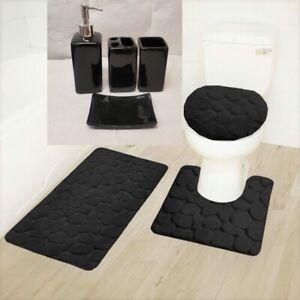NEW 7PC SOLID BATHROOM SET RUG CONTOUR MAT TOILET LID COVER CERAMIC ACCESORIES