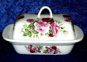 Rose pink Beautiful pink roses porcelain traditional shape deep butter dish
