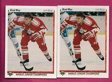 2 X 1990-91 UPD # 455 TEAM CANADA  BRAD MAY ROOKIE NRMT-MT CARD (INV# A7781)
