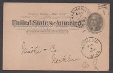 **US 19th Cent Postal Stat Cover, SC# UX12, Reprinted, Nickow, WV, DPO, 5/1/1896