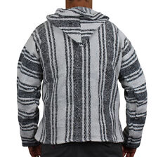 Mexican Baja Hoodie Surf Pullover Jacket White Unisex Size XL Drug Rug
