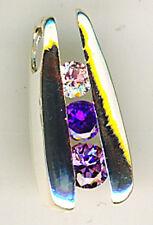 "925 Sterling Silver Purple Cubic Zirconia Pendant HIdden Bail Length 20mm  3/4"""