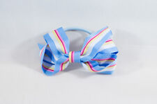 Unit of 10 Medium 3 Inch Sky Blue/White/Pink Stripe Hair Bow elastic Grosgrain