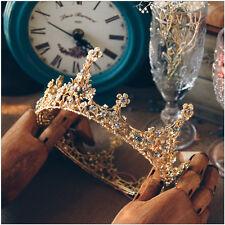 Vintage Queen Crystal Gold Crown Wedding Bridal Headband Tiara Prom Jewelry Gift