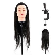 40cm Black Human Hair Head Hairdressing Model Mannequin Practice Train +Clamp LJ