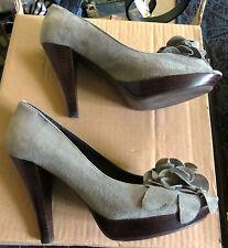 Chaussures escarpins gris bouts ouverts MINELLI 35 daim (cuir)