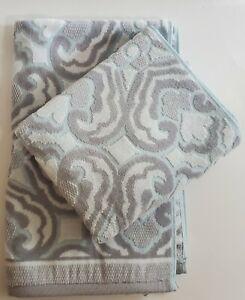 Beau Monde Blue Gray Geometric Hand Towels Set of 2 - Plush Towel Vendome