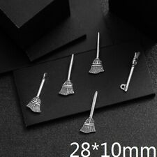 40PCS Tibetan Silver Jewelry Making  Charms Pendant Witch Broom Necklace 28*10mm