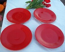"FIESTA 4 NEW SCARLET red DINNER PLATES 10-1/2"" PLATES Fiestaware PLATE  Set of 4"