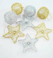 4pc x mas Gold Wire Ball And Star Christmas Tree Hanging x-mas Decoration.