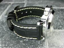 26mm BIG CROCO Leather Strap Black Thick Watch Band Belt White Stitch PANERAI