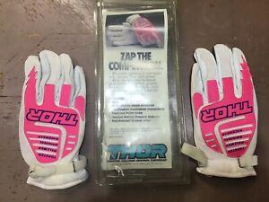 Vintage classicThor MX Motocross Dirt Bike  Gloves white pink  XL Old skool!