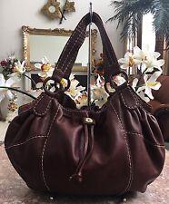 Lucky Brand Brown Pebbled Leather Drawstring Satchel Shoulder Handbag Purse EUC!
