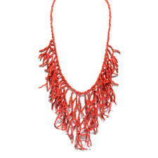 Red Coral Branches Bib Style Beaded Strands Nautical Tropical Paradise Necklace