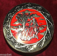 Tin Canister Embossed Raised Relief Man & Woman Renaissance Attire Red Gold Lid