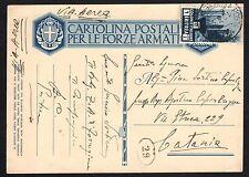 STORIA POSTALE AOI 1936 Cartolina Franchigia PA da PM 12 Sez.A a Catania (FILT)
