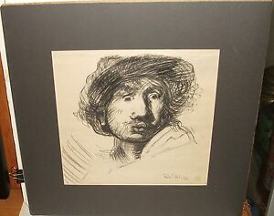 "BELA FIDEL ""AFTER REMBRANDT"" ORIGINAL COLOR GRAPHITE DRAWING"