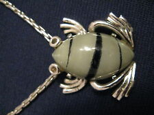 Eisenberg Frog Necklace Vintage jewelry glass frog green with black