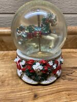 Vintage Horse Musical SnowGLOBE, Snow, Jingle Bells Christmas
