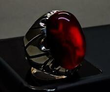 Yemeni Aqeeq Ring Handmade Blood Aqeeq Ring Mens Sterling Silver 925 Agate Ring